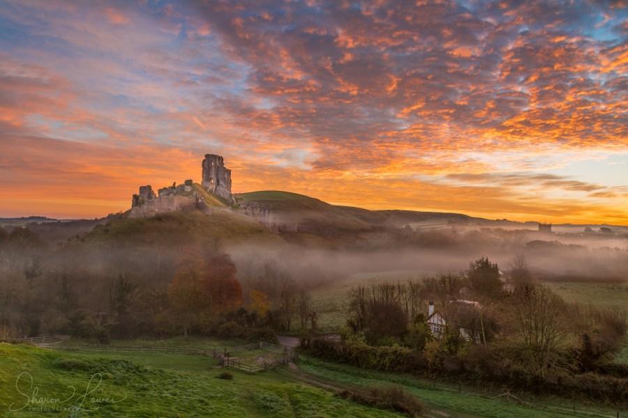 dorset, corfe castle, sunrise, photography, national trust,